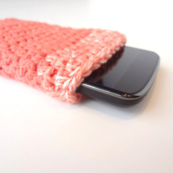 Coral Crochet Phone Case. Nexus IPhone Android Smartphone Cover. Mobile Accessories. Mobile Phone Sleeve.
