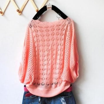 Women  Loose Batwing Pullovers Autumn Hollow Out Crochet Casual Knitted Sweater one size = 1946733508