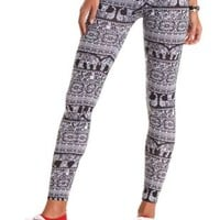Cotton Paisley Elephant Printed Leggings - Black/White