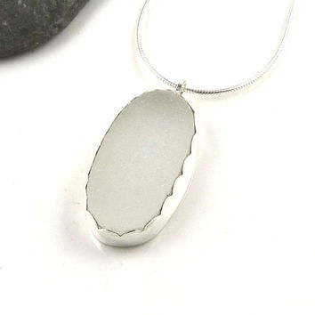Frosty White Sea Glass Necklace Pendant, Everyday Necklace, Sea Glass Pendant, Seaglass Necklace, SUZETTE
