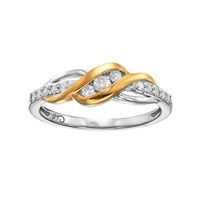1/4 Carat T.W. Diamond 14k Gold Over Silver & Sterling Silver Swirl Ring (White)