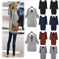Women Sexy Batwing Blouse Long Sleeve Loose Casual Tops Tank Vest T Shirt Hot
