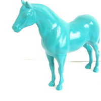 Blue Painted Horse Figurine Kitsch Upcycled Home by ColorsMadeNew
