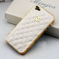 Cute Gold LOGO CC iPhone Case //  White Leather Case// by YeonS