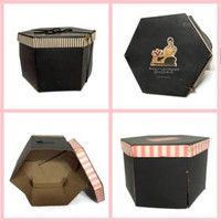 Art Deco Hat Boxes Hexagon Six Sided Black Pink White Vintage Photo Prop Home Decor