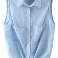 Solid Color Sleeveless Self-Tie Shirt