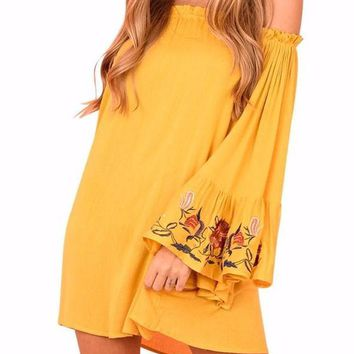 Women's Off The Shoulder Mustard Yellow Bell Sleeve Floral Embroidered Shift Dress