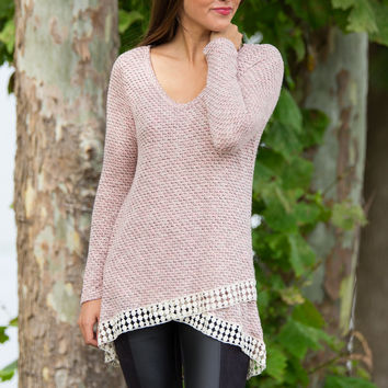 Flirt With Me Sweater Top-Blush