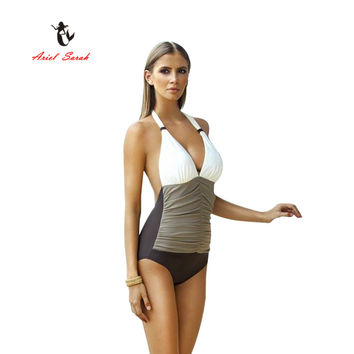 2017 Ariel Sarah Brand One Piece Swimsuit Plus Size Swimwear Women Brazilian Bandage Sexy Beachwear Monokini XXL Q013