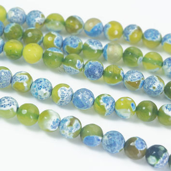 lime and blue faceted fire agate stone beads -  gemstone agate beads supplies - fire agate for jewelry beading - agate round beads -15 inch