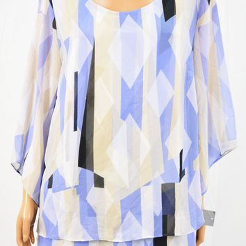 JM Collection Women Purple Geometric Print Chiffon Blouse Top Large L