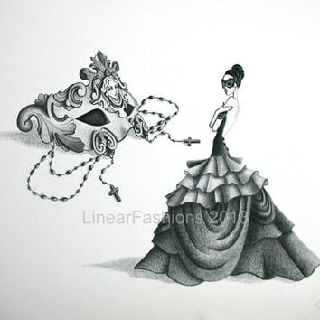 Venetian Mask Giclee Print Fashion Art Ballroom Dress Black and Gray Masquerade Decor Limtied Edition