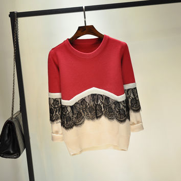 2016 New Autumn Winter Women Lace Sweater Vintage O-Neck Long-Sleeve Basic Pullover Knitted Sweaters