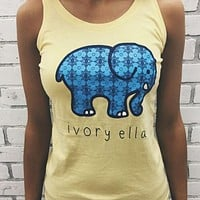 Popular Women Sleeveless Cute Elephant Pattern T-Shirt Ivory Ella Letters Print Pullover Tops I11953-1