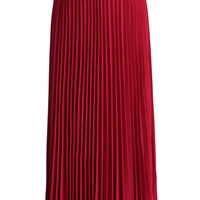Belted Pleated Chiffon Maxi Skirt in Ruby  Red