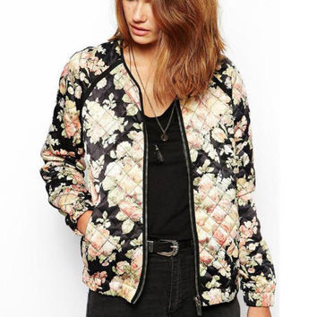 Vintage Floral Print Long Sleeve Zip-Up Jacket