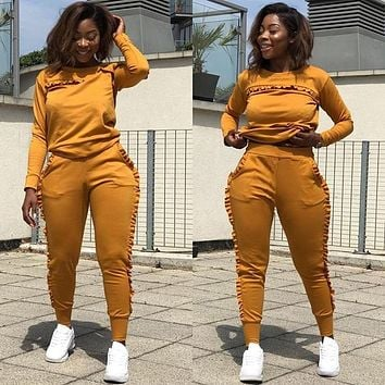 New Outdoor Sport Sets Women Gym Suits Running Suit Two Piece Solid Long-Sleeved Workout Clothes For Women Street Style Clothes