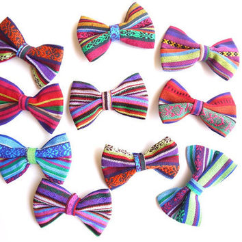 Peruvian Fabric Bows, South American Tribal Fabric Bows, Woven Textile, Appliques for DIY Jewelry Accessories, 10 Pack