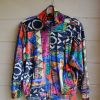 Vintage 80s URBAN hip hop slouchy Jacket Oversized Jacket Bomber Jacket Abstract Print Size Small