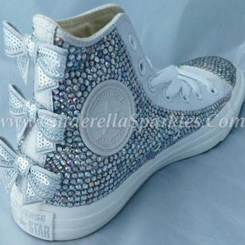 White Chuck Taylor High Top Crystal Rhinestone Converse with seuin bow -  Mono leather db353c4572af