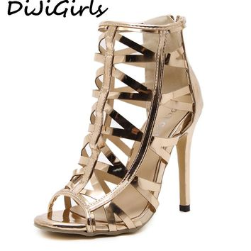 DiJiGirls Women Pumps Gladiator Roman Sandals Peep Toe Ankle Boots Cut Out Bootie Champange Metallic Faux Leather High Heels