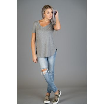 Must Have Basic V Neck Tee in Heather Gray