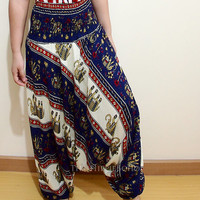 Thai Elephants Boho Harem Pants/ Hippie Pants/ Gypsy Aladdin Genie Pants/ Yoga Pants/ Wide Leg Pants