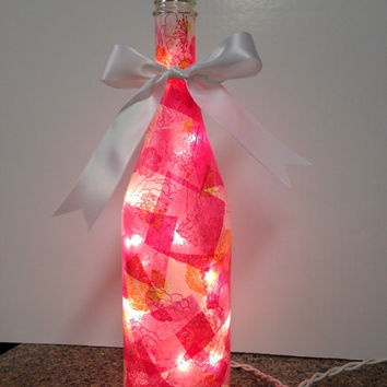 Pink flower wine bottle lamp