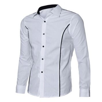 Stylish Dress Shirt with Vertical Stripes