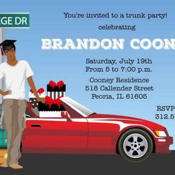 Male College Trunk Party Invitations