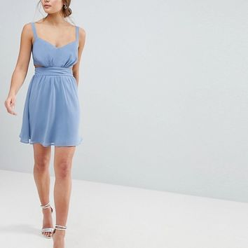 ASOS Side Cut Out Mini Dress with Cami Straps at asos.com