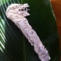 Sacred Carved Dragon Sword hilt  / hand carved / Deer horn / magic knife / dragon sword / dragon walking stick / sword /sword hilt /
