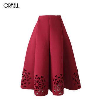 ORMELL Midi Skirt 2016 Elegant Vintage Floral Crochet Black White Red Women High Waist A Line Zipper Sun Skirts