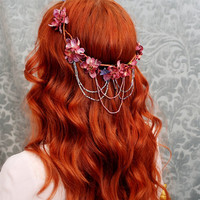 Vanlanthiriel cascading floral elf crown by gardensofwhimsy