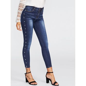 Pearl Beaded Faded Wash Jeans