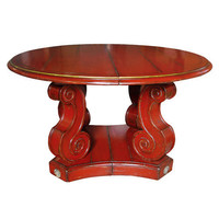 Baroque Style Round Wood Table with Antiqued Red Finish