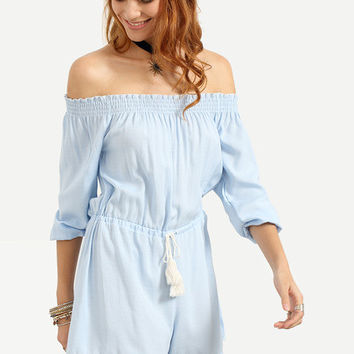 Off-The-Shoulder Tasselled Drawstring Waist Romper - Blue [6240900548]
