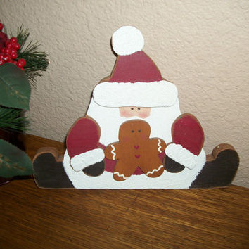 Hand Painted Wood Rustic Santa Claus and Gingerbread Man Vintage Christmas Home Decor