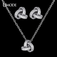 White Gold Plated Cubic Zirconia CZ Accent Twist Love Knot Stud Earrings and Pendant Necklace Jewelry Set US0031