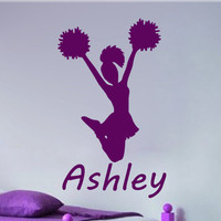 Personalized Cheerleader vinyl decal wall art room decor sticker kids wall stickers