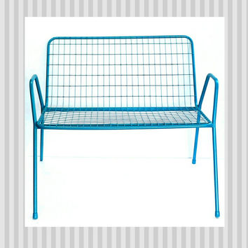 Wire Bench Wrought Iron Seating Chair Homecrest Vintage Mid Century Modern Heavy Metal Industrial Shabby Chic Indoor Outdoor Turquoise Blue