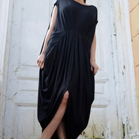 NEW!Black Maxi Dress/Draped Loose Spring Dress/Long Oversize Black Dress/Plus Size Casual Tunic/Sleeveless Black Kaftan/Street Fashion Dress