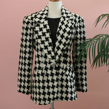 Black and White Checkered Woman's Wool Blazer with Matte Silver Buttons