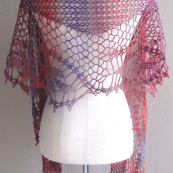 Gradient Rainbow Lace Crochet Wool Scarf Handmade Lightweight Versatile Wrap Neckwarmer Shoulder Wrap