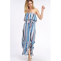 South of the Border Strapless Striped Maxi Dress - Gray Mix