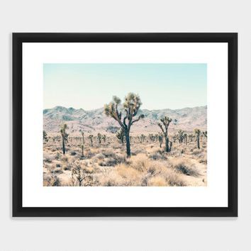 Serene Joshua Trees Wall Art in White Frame
