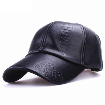 High quality fall winter men leather hat Cap casual
