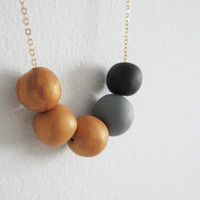 "Golden beads necklace - golden beads with black and gray- elegant necklace "" Round and round"""