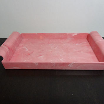 Vintage Shabby Chic/Art Deco Pink Marbled Plastic Vanity/Dresser Tray