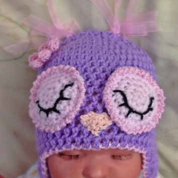 Baby girls Owl hat, photo prop, baby gift cute 12-18, 18-24 months.
